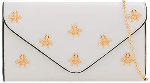 Glitter Ladies White Bridal Envelope Bag Designer Bees Evening Clutch Hdawqvdgxn