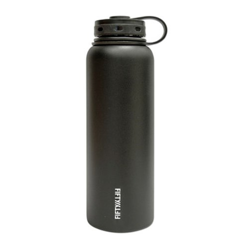 Lifeline 7502BK Black Stainless Steel Wide Mouth Water Bottle - 40 oz. Capacity