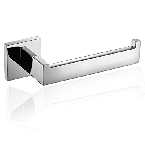 (Luxury 304 Stainless Steel Chrome Finished Toilet Paper Holder Roll Quadrate Wall Mounted Mirror Polished Bathroom Accessories by ThinkTop)