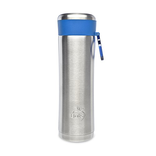 LunchBots Insulated Kids' Water Bottle (14oz) - Keeps Drinks Cold for 24 Hours - Lightweight Stainless Steel - Double Walled, Dishwasher Safe and Durable - Blue by LunchBots