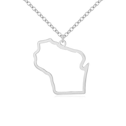 MANZHEN Texas State Outline Novelty Charm Necklace (Wisconsin-Silver)
