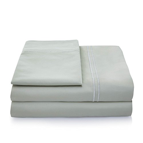 LINENSPA 600 Thread Count 100% Egyptian Cotton Pillowcase Set of 2 - King - Sage Northern Nights Bed Sheets