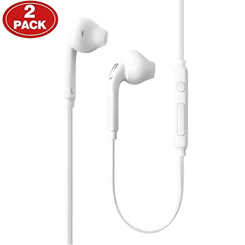 Aux Headphones/Earphones/Earbuds, (2 Pack) 3.5mm Aux Wired in-Ear Headphones with Mic and Remote Control Compatible with Galaxy S9 S8 S7 S6 S5 Edge + Note 5 6 7 8 9 and More Android Devices-White