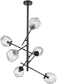 Lampara Colgante Color Negro/Cristal Transparente 36W 100V Tecnolite 360CTL8616MVCT, Grande