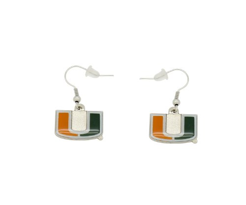 aminco NCAA Dangler Earrings, miami-florida-hurricanes