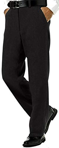 (Deluxe Men's Modern Fit Flat Front - Twill Weave - Comfort Fit Expandable Waist - Dress Pants - Black - 54)