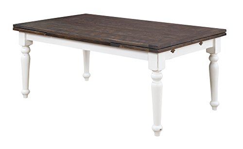 Emerald Home Mountain Retreat Dark Mocha and Antique White Dining Table with Plank Style Top and Self Storing Extension Leaves