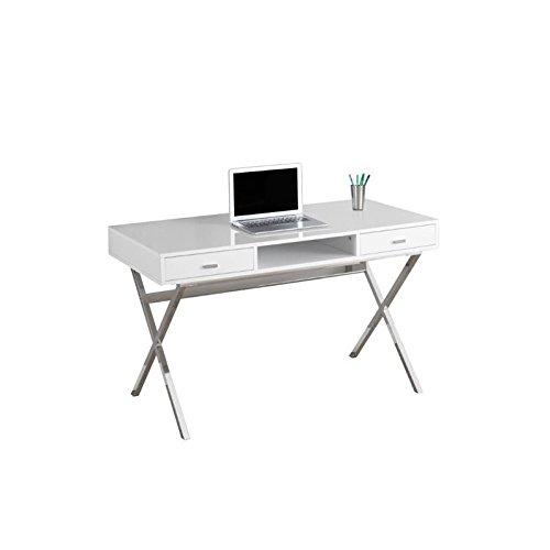 "Monarch I 7211 Chrome Metal Computer Desk, 48"", Glossy White"