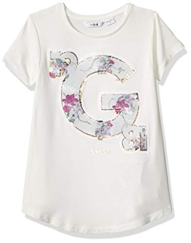 GUESS Girls' Big Short Sleeve A-LINE G Floral T-Shirt, White Clay a 8 ()
