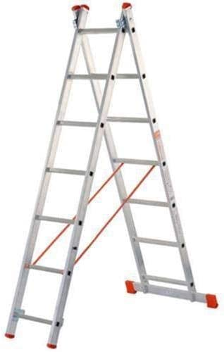 Escalera de dos tramos, de aluminio, se puede utilizar tanto en tijera como extendida en apoyo Dotada de estabilizador de base, barra antiapertura y limitador de altura: Amazon.es: Bricolaje y herramientas