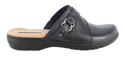 Clarks Women's Leisa Sadie Mule, Navy Leather, 11 M (Blue Womens Clogs)