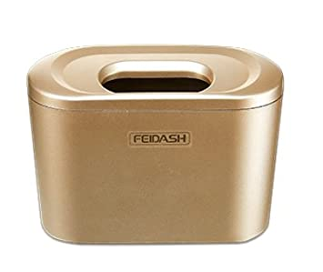 1L // 0.35 Gal Purse Golden Essential Mart Phone Clamshell Lid Mini Car Garbage Can Hanging Trash Can Universal Auto Trash Bag for Litter