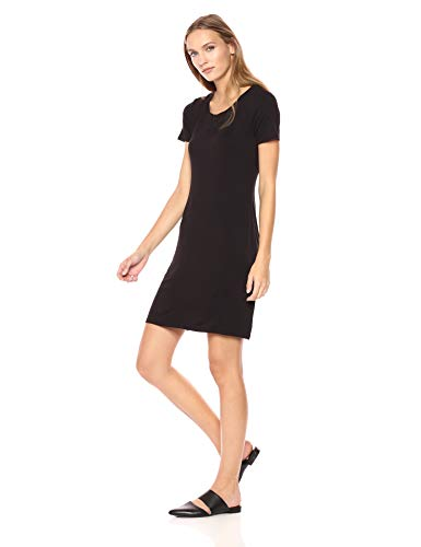 Amazon Brand - Daily Ritual Women's Jersey Short-Sleeve Scoop Neck T-Shirt Dress, Black, X-Large