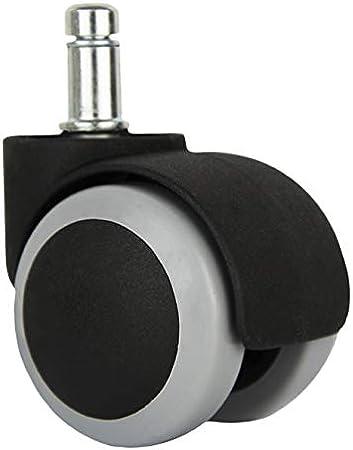PA NEGRO QC-CARMEN50N11 Pack de 5 ruedas para sillas Acople de espiga con clip de 11/×22.