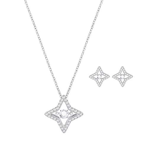 Rhodium Plated Star Earrings - Swarovski Crystal Sparkling Dance Star Rhodium Plated Necklace and Earring Set