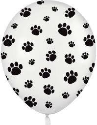12 белые шары с черными отпечатками лап - Гав!