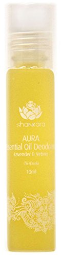 Shankara Aura Essential Oil Deodorant - All Natural Deodorant - Vegan, Anti-Bacterial, Odor-Fighting Deodorant for Men & Women - Alcohol, Paraben & Aluminum Free Deodorant - Lavender & Vetiver - 10 ml (Best Odor Fighting Deodorant)