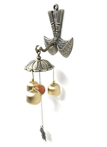 THY COLLECTIBLES Feng Shui Brass Door Chime Wind Chime windbell - Chinese Fu (Fortune) Design ()