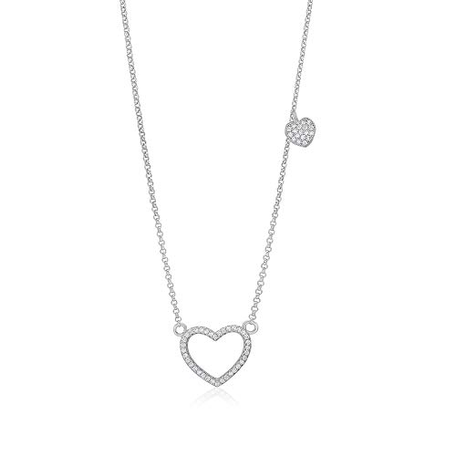 Girls Sterling Silver 925 Heart Necklace Cubic Zirconia Pendant With 15