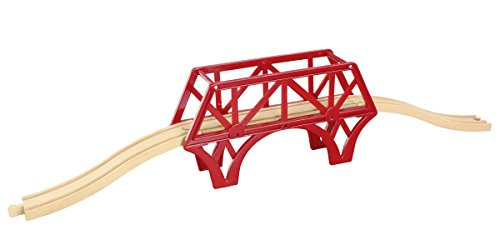 maxim enterprise, inc. 3 Piece Bridge with Ascending Tracks - Compatible with All Major Name Brand Wooden Train Sets