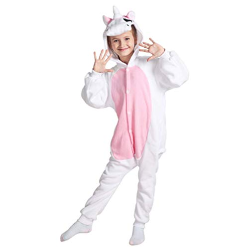Cartoon Animal Pyjamas Unicorn During The Day Fleece for Adults and Children (L, Children's Style - Pink) -