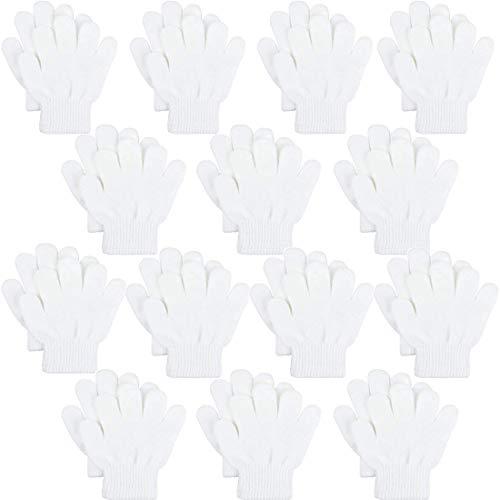 Childrens Gloves Magic (Kids Warm Magic Gloves,14 Pairs Boys Girls Winter Stretchy Knit Gloves (White, 6-12 Years))