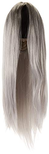 (Superwigy Long Straight Hair Two Tone Black and Grey Ombre Wig Heat Resistant Fiber Synthetic)