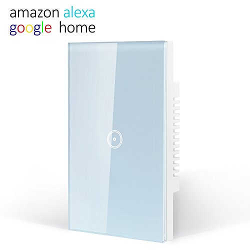 Smart Wifi Light Switch, Touch Wall Switch Panel, Replace 1 Switch in a Single Wall Box, Compatible with Alexa, Smartphone App Control
