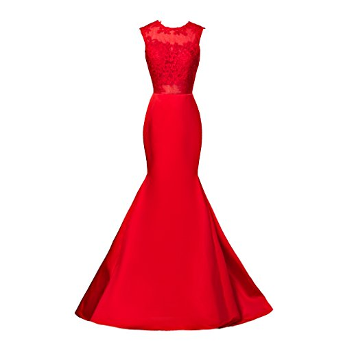ermaid Top Sheer Lace Appliques Evening Dress Long Prom Gowns (Top Satin Evening Dress)