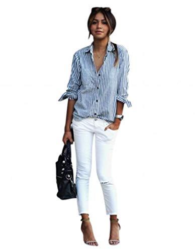 Plaid Shirt Shirt Longues Manches pour Rayures dcontract Chemises SUccessT Neck Femmes Tops Stripe Blouses Sexy Bleu Casual V Femmes qRaZ1wZp