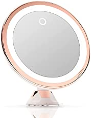 Fancii 10X Magnifying LED Lighted Makeup Mirror with Dimmable True Natural Light - USB & Battery, Strong Suction Cup, 20cm Wide - Luna