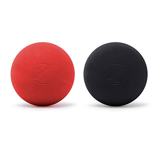 Lacrosse Ball Massage Ball 2 Pack, 2 Muscle Roller Massage Balls for Physical Therapy, Yoga, Crossfit, Myofascial Release, Archer MedTech Brand (Black, Red)