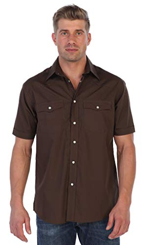 Gioberti Mens Casual Western Solid Short Sleeve Shirt with Pearl Snaps, Brown, X -
