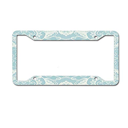 HappyToiletLidCoverX Floral Pattern in Duck Egg Blue & Cream License Plate Novelty Auto Car Tag Vanity Gift for Police Officer 4 Holes