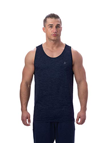 Arctic Cool Men's Instant Cooling Muscle Tank Performance Tech Breathable UPF 50+ Sun Protection Moisture Wicking Comfortable Athletic Gym Quick Drying, Midnight Navy Twist, L (Shirt Tech Sleeveless)