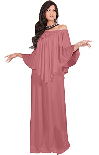 KOH KOH Womens Long Strapless Shoulderless Flattering Cocktail Evening Off The Shoulder Cold Sexy Evening Flowy Formal Slimming Gown Gowns Maxi Dress Dresses, Cinnamon Rose Pink L 12-14