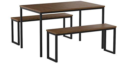 bac56ce72 Zinus Louis Modern Studio Collection Soho Dining Table with Two Benches   3  piece set