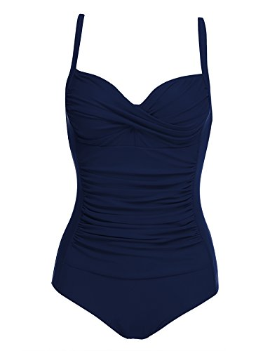 Ekouaer Sexy Swimsuits Lady Push Up 1 Pc Bathing Suits With Ruffles Beach Wear, Navy Blue, Large