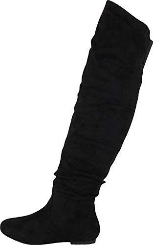 Nature Breeze Women's Stretchy Thigh High Boot, Black, Size 8.5 (Youtube Natur)