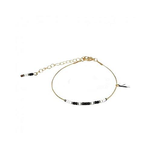 Bracelet Métal Doré Frange Plume Rocailles Verre Blanc Noir
