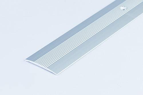 2M_Threshold Carpet Cover Door Plate Aluminium Grooved Floor Trim drilled LPOR 38mm TMW Profiles (Silver)