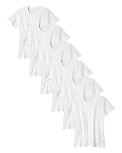Anvil Cap Sleeve T-shirt (Anvil Ladies Combed Ring-Spun Seamed Collar T-Shirt, White, X-LARGE. (Pack of 6))