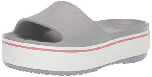 Crocs Platform Slide Sandal, Light Grey/Rose, 7 US Women / 5 US Men (Synthetic Sandals For Women)