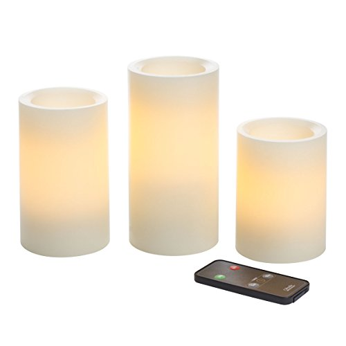 Candle Impressions by Sterno Home 4-Inch, 5-Inch, and 6-Inch Remote Control Flameless Candles with Vanilla Fragrance, Cream, 3-Pack