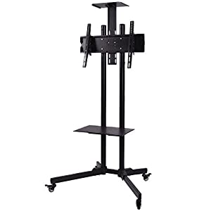 """Plasma LCD LED Flat Screen Panel TV Cart Stand Mount Fits 32""""to 55"""" Mobile Rolling With Wheels 360 Dregree Swivel, Steel Material"""