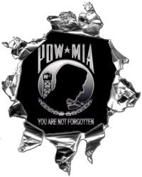 Mini Ripped Torn Metal Decal with POW MIA You are not forgotten Graphic - 4