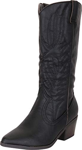 Cambridge Select Women's Western Pointed Toe Embroidered Stitched Stacked Heel Mid-Calf Cowboy Boot,8 B(M) US,Black PU