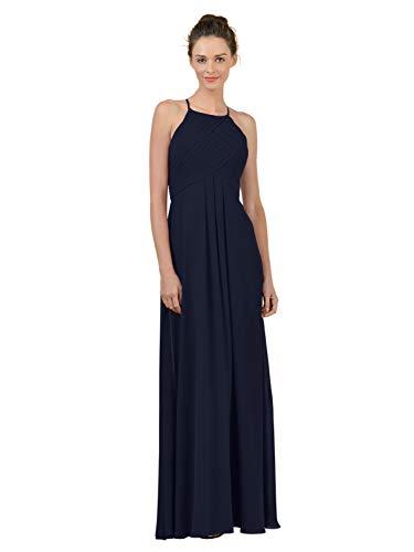 Alicepub Long Chiffon Plus Size Bridesmaid Dress Maxi Evening Gown A Line Plus Party Dress, Dark Navy, US8 from Alicepub
