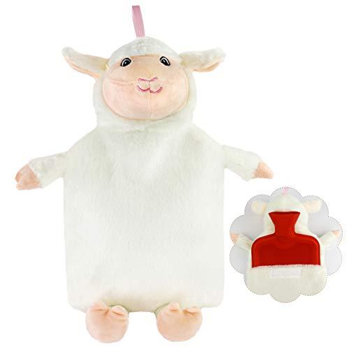 (Athoinsu Animal Rubber 2L Hot Water Bottle with Cute White Plush Lamb Cover for Girls Women Children (Lamb))