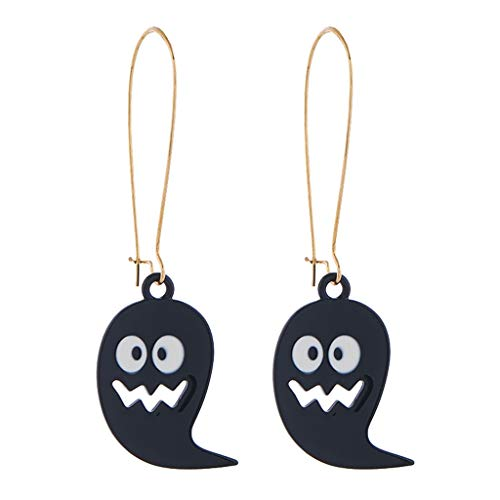Personalized Drop Earrings,Crytech Creative Fashion Black Ghost Large Hoop Dangle Earrings Chic Halloween Theme Pierced Hook Earring for Women Girls Gifts Party Favor (Hoop)